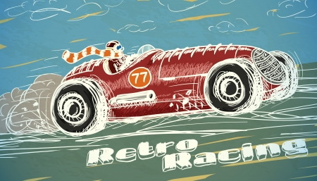 Retro-Rennwagen Poster isolierten Vektor-Illustration