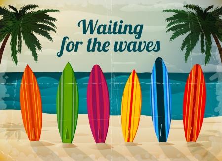 �board: Tablas de surf de vacaciones en la ilustraci�n vectorial Tarjeta oc�ano playa Vectores