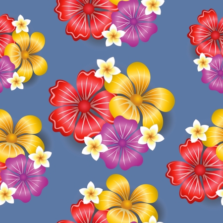Tropical flowers seamless pattern background vector illustration Vector
