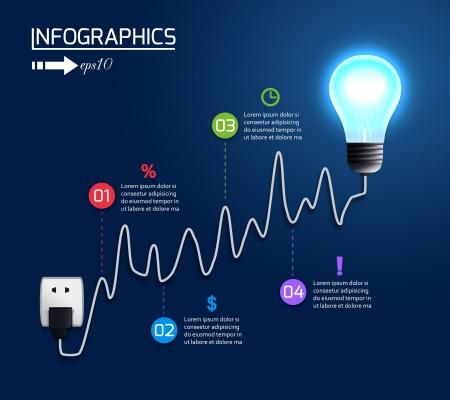 Bombilla creativa creciente gráfico de la carta con la ilustración de los elementos infográficos vector