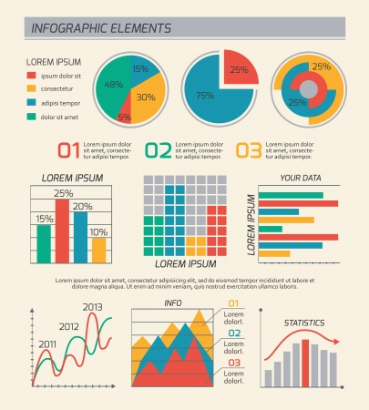 Business diagrams template layout, charts and graphs isolated vector illustration Illustration