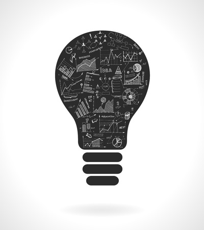 infomation: Doodle idea lightbulb icon with infographics charts isolated vector illustration Illustration