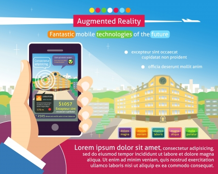 Augmented reality poster, Fantastic mobile technologies of the future vector illustration Vector