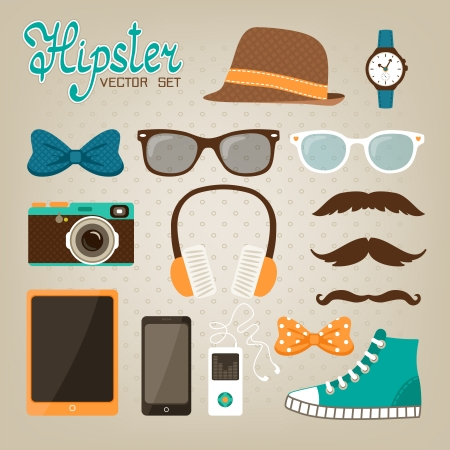 blogger: Hipster elements icons set of glasses bow hat and modern mobile phone vector illustration