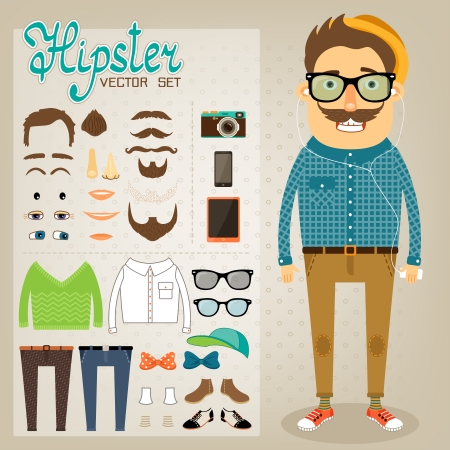 geek: Hipster character pack for geek boy with accessory clothing and facial elements vector illustration