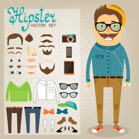 fashion bril: Hipster character pack voor geek jongen met bijbehorende kleding en gezicht elementen vector illustratie