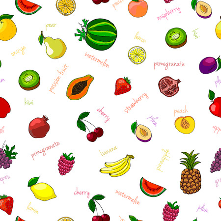 passion ecology: Fresh fruits seamless pattern with pear watermelon kiwi and garnet vector illustration Illustration