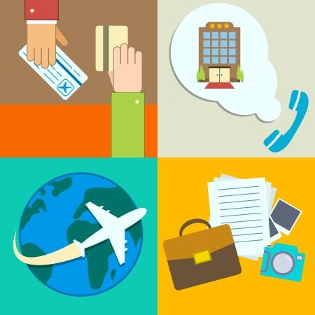 business travel: Gesch�ftsreisen Infografiken Symbole mit den H�nden der Ticketkauf Hotelbuchung und Flug Vektor-Illustration gesetzt