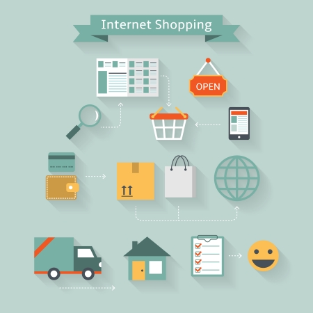 Internet shopping concept from online purchase to home delivery infographics vector illustration Vector