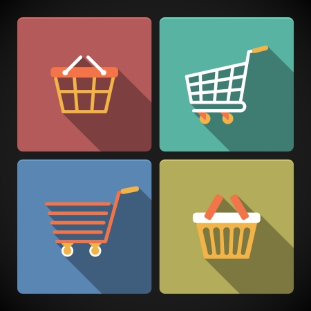 Pictogram collection of internet shopping carts and baskets for e-commerce vector illustration Vector