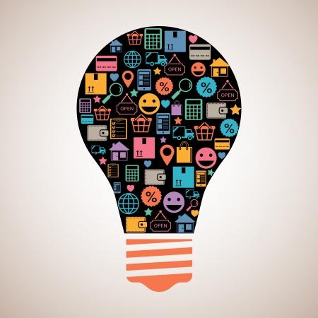 Online shopping creative light bulb emblem in flat style vector illustration Vector