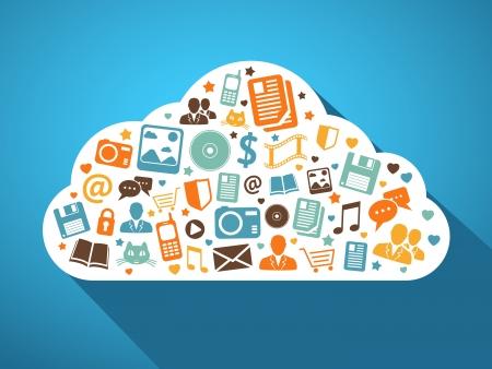 マルチ メディアのソーシャル ネットワークとクラウドの概念ベクトル図に携帯アプリ