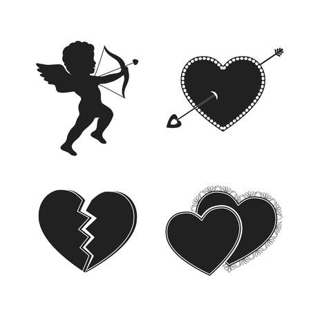 Set of valentine tattoos with cupids hearts and arrows isolated vector illustration Vector