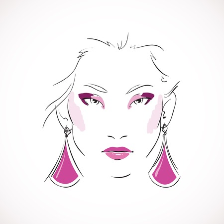 expressive: Front expressive look of fashion woman with earrings isolated vector illustration