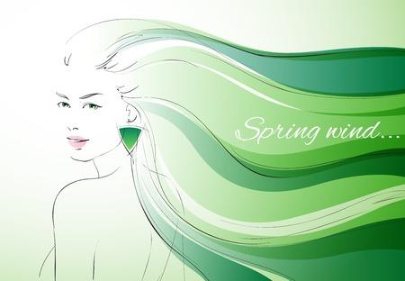 kifejező: Szél tavaszi háttér kifejező nő, hullámos hajat vektoros illusztráció