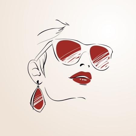 aretes: Cara de la mujer sensual con las gafas y pendientes aislados ilustración vectorial Vectores