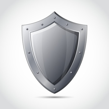 business protection: Blank shield business protection emblem isolated vector illustration