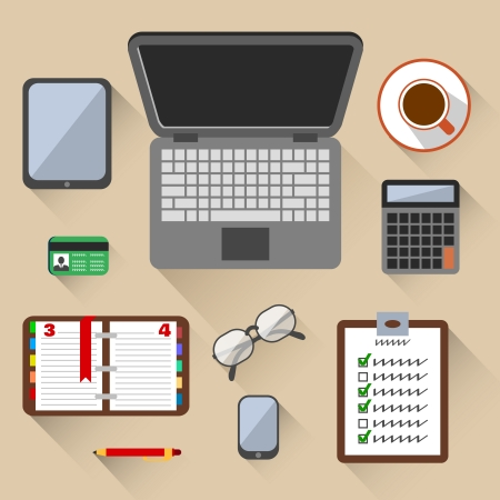 blogger: Top view on business workplace with laptop mobile phone glasses and id card vector illustration Illustration