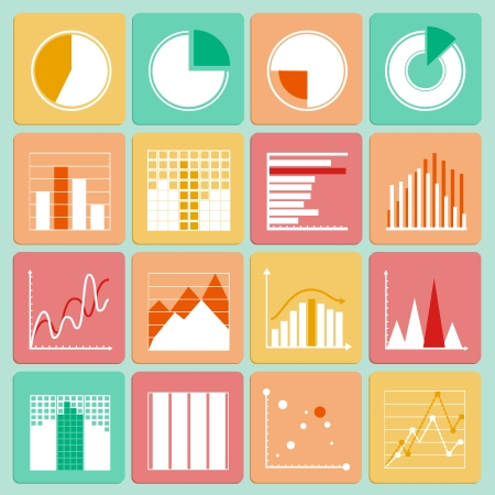 infomation: Icons set of business presentation charts graphs and infographic elements isolated vector illustration