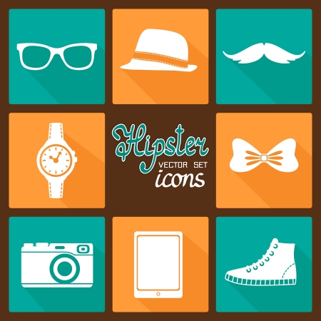 Hipster accessories pictograms set of clothes and items vector illustration Vector