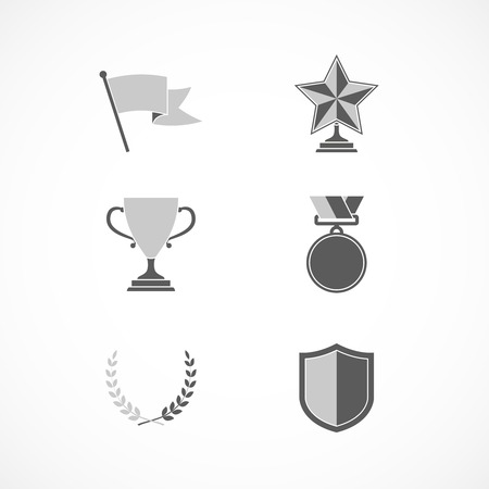 community recognition: Game winning awards and recognition signs of shield star medal and wreath isolated vector illustration Illustration