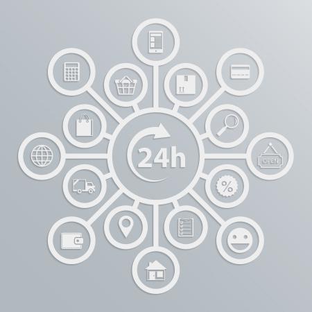 Online store 24 hours customer service diagram, how e-commerce website works vector illustration Vector
