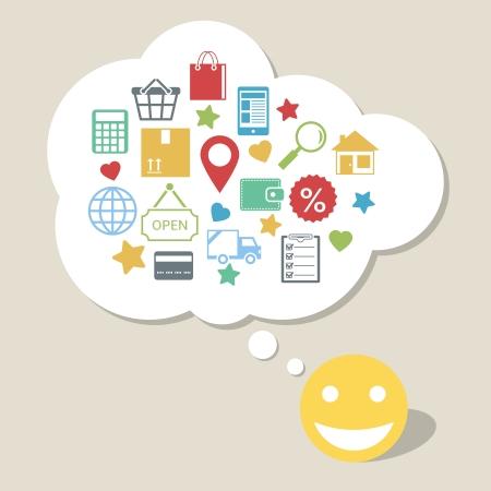Online shopping innovation idea with happy satisfied customer vector illustration Vector
