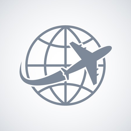 air travel: Globe and plane travel icon isolated vector illustration