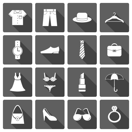 shoes vector: Clothes accessories shoes icons set of lipstick umbrella hanger and brassiere isolated vector illustration