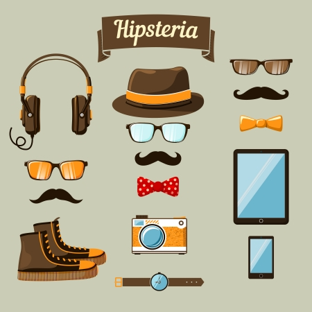 Hipster devices icons set of headphones music player clock and retro camera vector illustration Vector