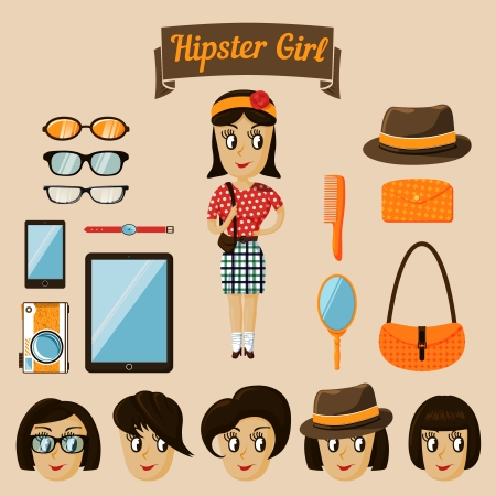 hair bow: Hipster character elements for nerd woman with customizable face look and clothing vector illustration