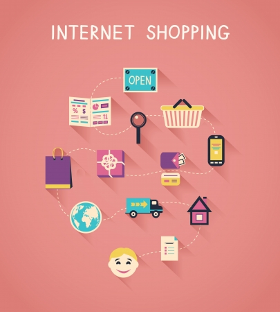 Internet marketing and online shopping infographics, how e-commerce website works vector illustration Vector