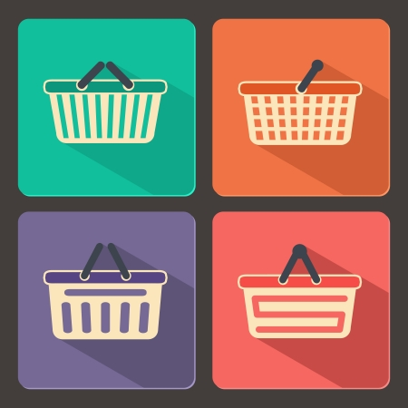 Set of shopping carts and baskets icons vector illustration Vector