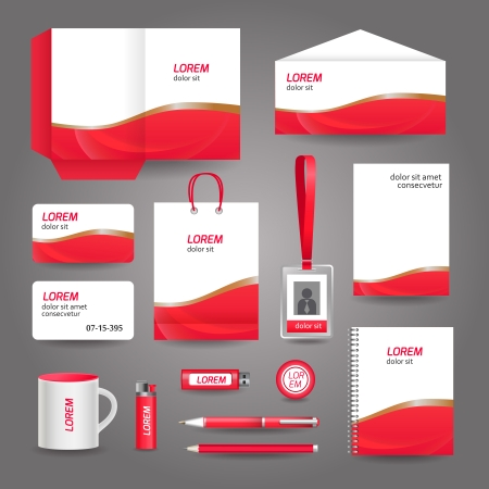 abstract business: Red wavy abstract business stationery template for corporate identity and branding set vector illustration