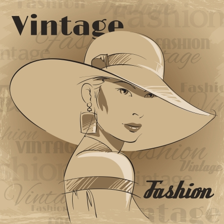 Retro poster of fashion young woman portrait with hat and earrings vector illustration Vector