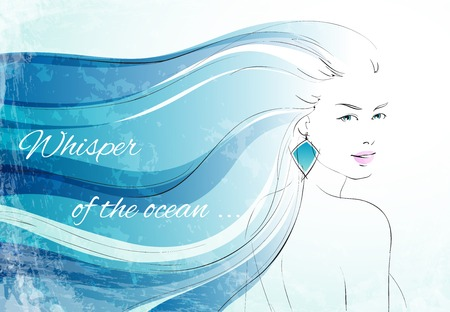 ocean background: Whisper of the ocean background with sensual woman with wavy hairs vector illustration