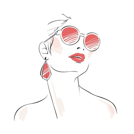 Expressive woman portrait with sunglasses and eardrops isolated vector illustration Vector