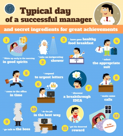 workday: Business life. Manager schedule typical workday infographics from dawn to dusk vector illustration