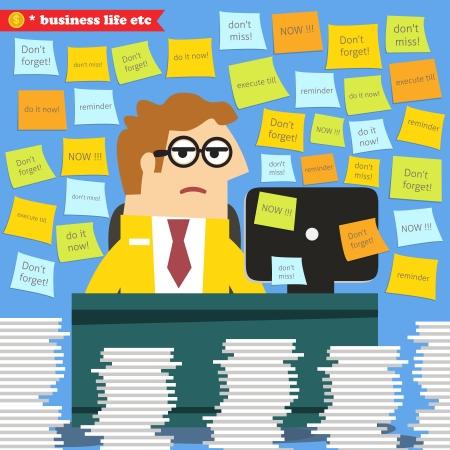 the paperwork: Business life. Hard work in progress, paperwork piles around the desk  vector illustration