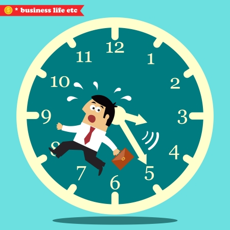 worried executive: Business life. Worried executive running against the time vector illustration
