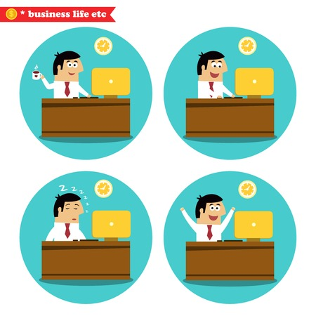 Business life. Office worker at the desk coffee break, achievement and sleeping set vector illustration Vector