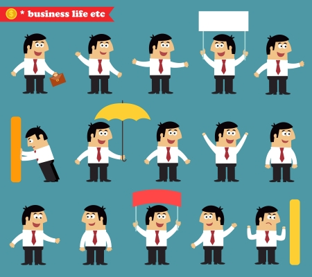 Business life. Adult at work emotional poses and situations set vector illustration Illustration