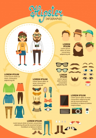 Hipster infographics with fashion design elements for vintage presentation and marketing report vector illustration