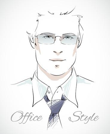 relajado: Estilo de negocios relajada. Retrato con estilo de hombre de negocios con gafas de corbata y la camisa desabrochada, ilustraci�n vectorial