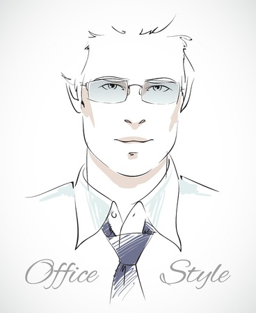 relaxed: Relaxed business style. Stylish businessman portrait with glasses tie and unbuttoned shirt isolated vector illustration Illustration