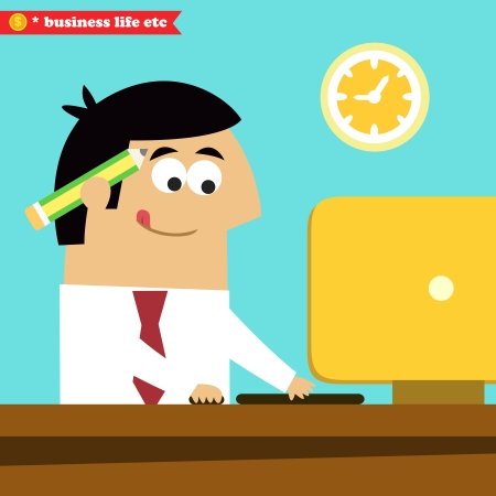 overwork: Business life. Manager working diligently on the computer vector illustration