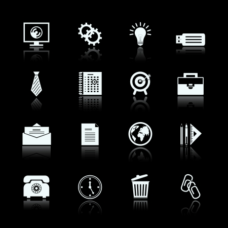 Business office supplies pictograms set of cogs and gears trash bin and computer screen illustration Vector
