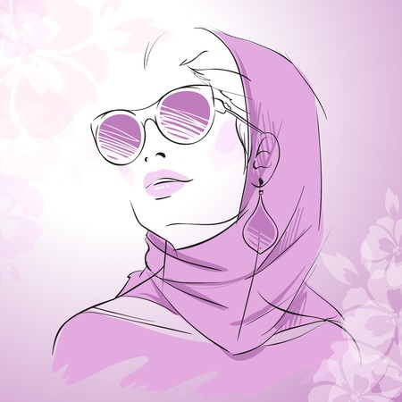 woman scarf: Fashion gorgeous woman portrait wearing purple scarf sunglasses and earrings with floral decor illustration Illustration