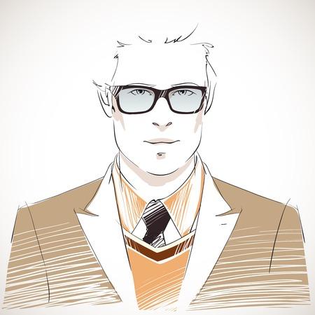 male hair model: Handsome young businessman portrait wearing glasses, vest, jacket and black tie isolated illustration Illustration
