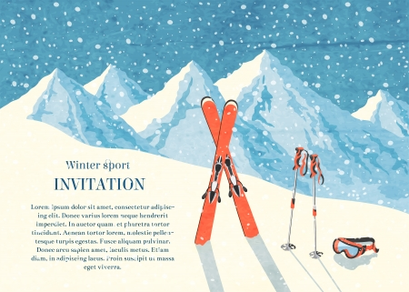 Ski winter mountain landscape retro invitation card frame  illustration
